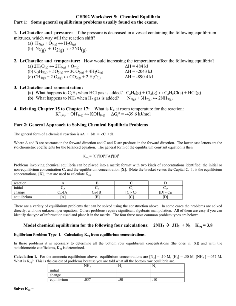 CH302 Worksheet 5: Chemical Equilibria Part 1: Some general