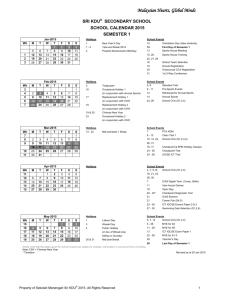 2015 School Calendar (Secondary School