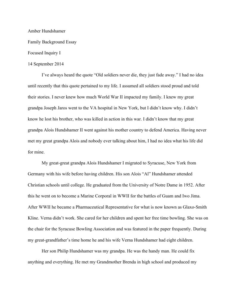 Amber Hundshamer Family Background Essay Focused Inquiry I