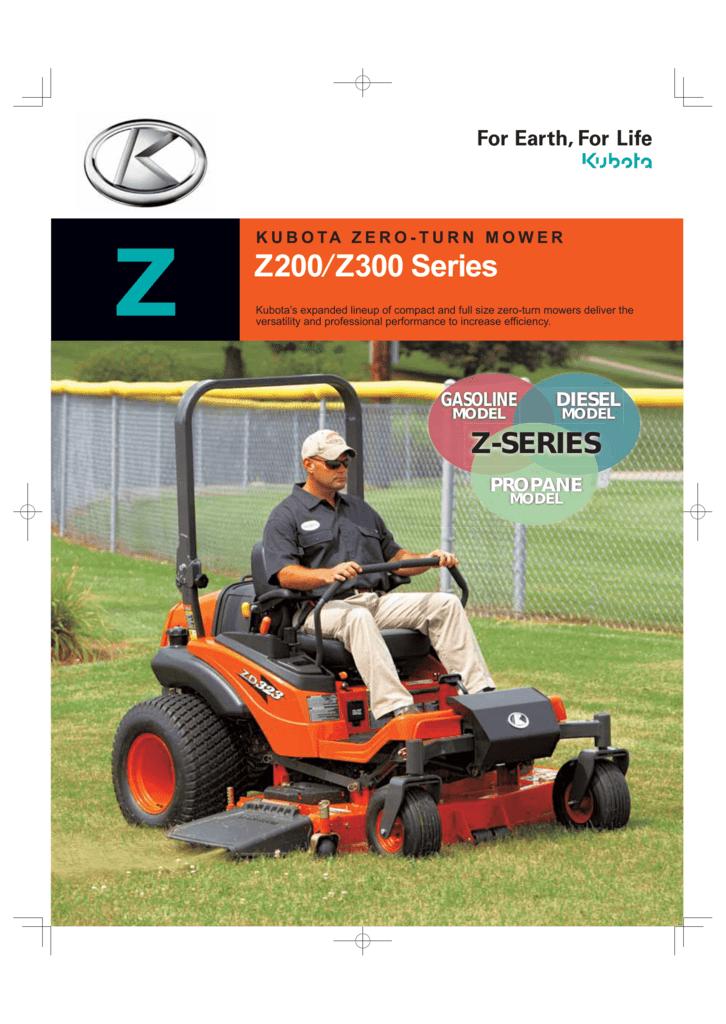 KUBOTA ZERO-TURN MOWER Z Z200 Z300