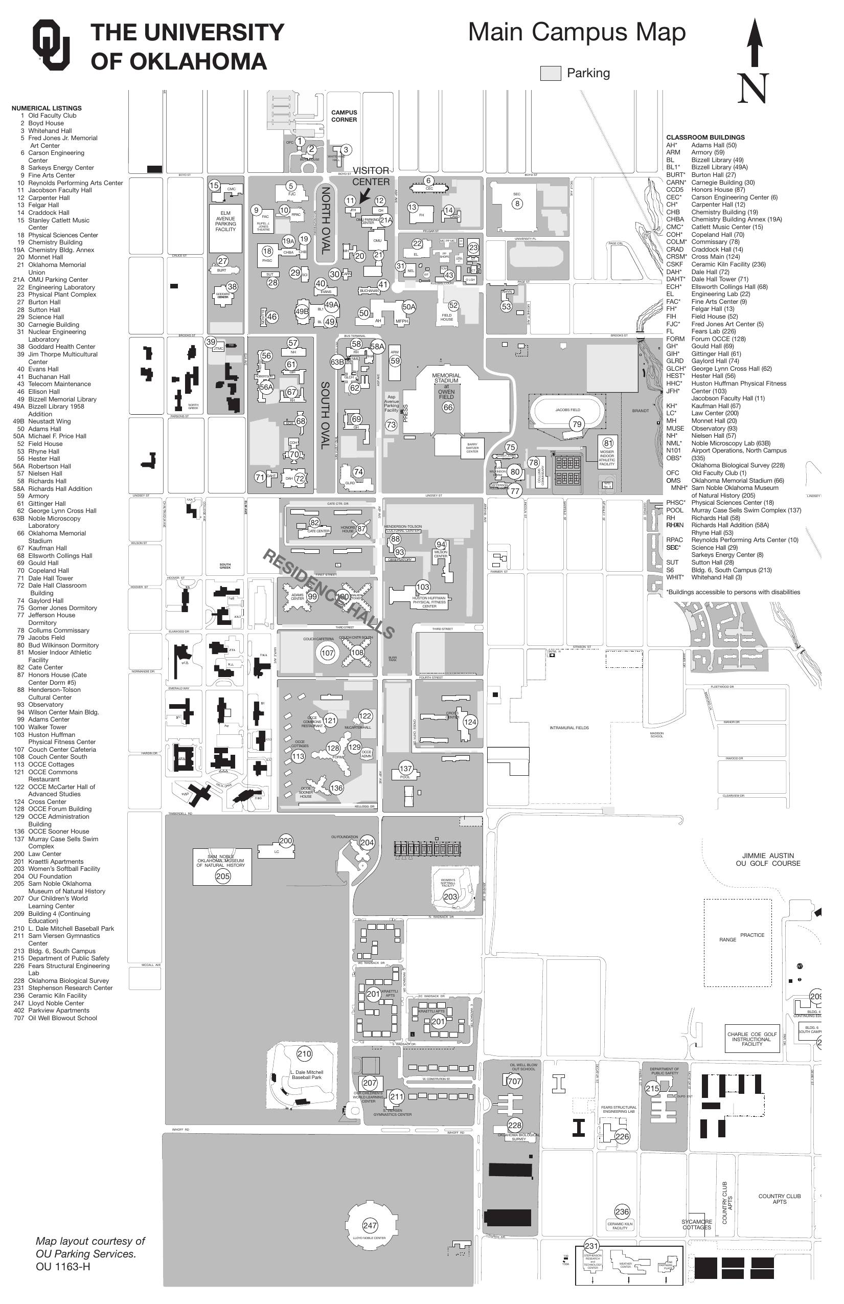 Goddard Campus Map.Main Campus Map Oklahoma Sooners