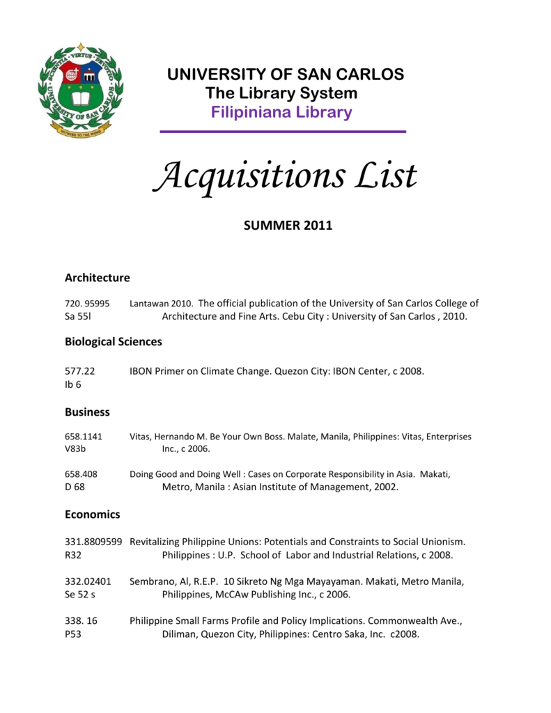 Acquisitions List - University of San Carlos Library