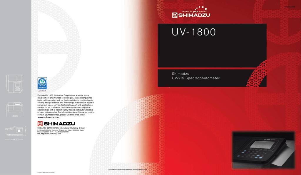 UV-1800 - Shimadzu Scientific Instruments