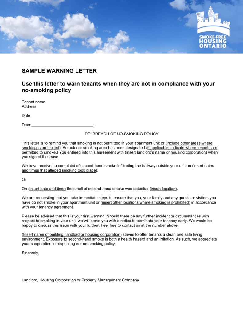 Sample Warning Letter   Smoke Free Housing Ontario