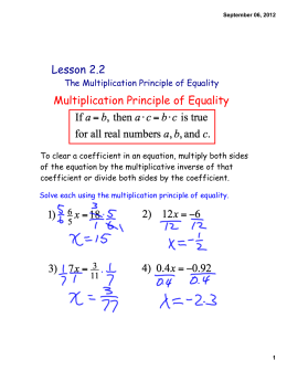 Lesson 2.2 Multiplication Principle of Equality