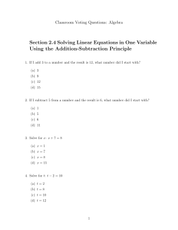 Section 2.4 Solving Linear Equations in One Variable Using the