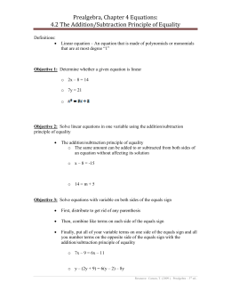 Prealgebra, Chapter 4 Equations: 4.2 The Addition/Subtraction