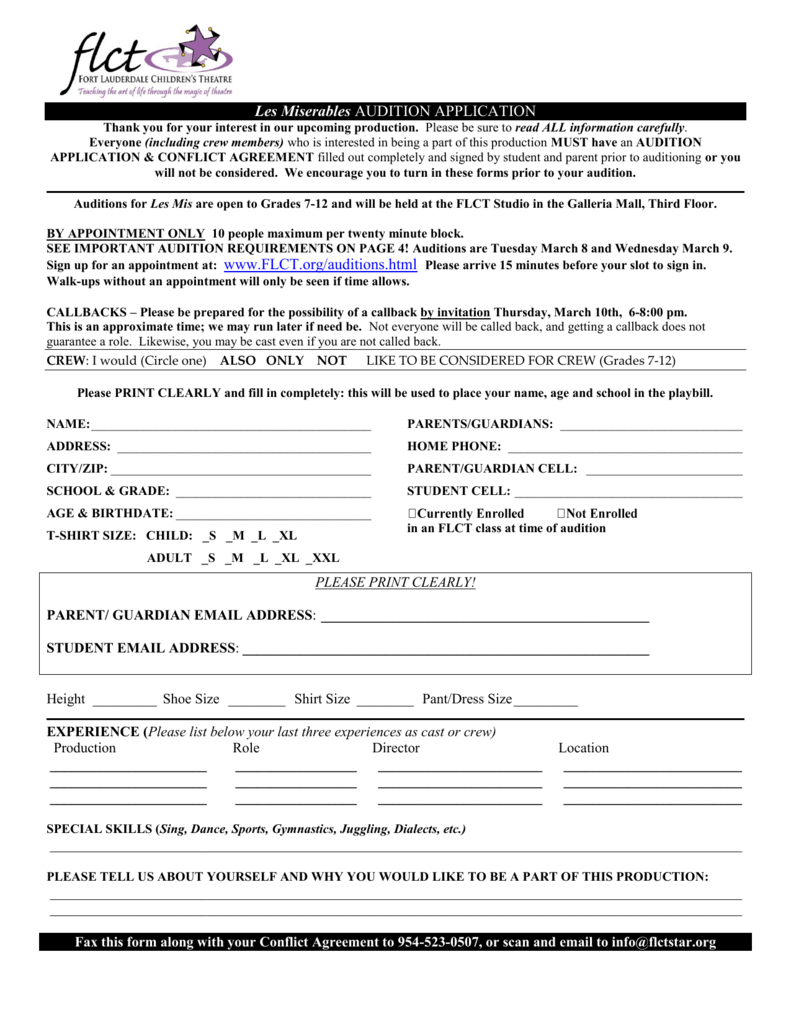 Audition Application - Fort Lauderdale Children's Theatre