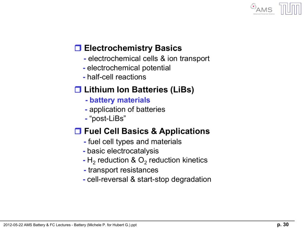 Electrochemistry basics lithium ion batteries (libs) fuel cell basics.