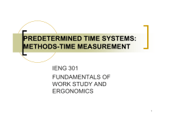 PREDETERMINED TIME SYSTEMS: METHODS