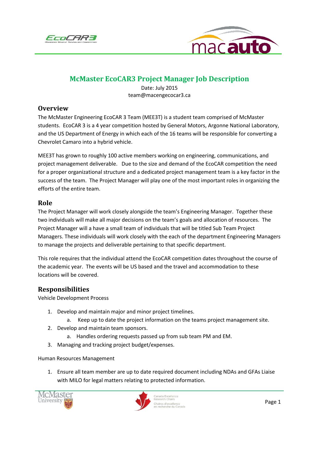 McMaster EcoCAR3 Project Manager Job Description