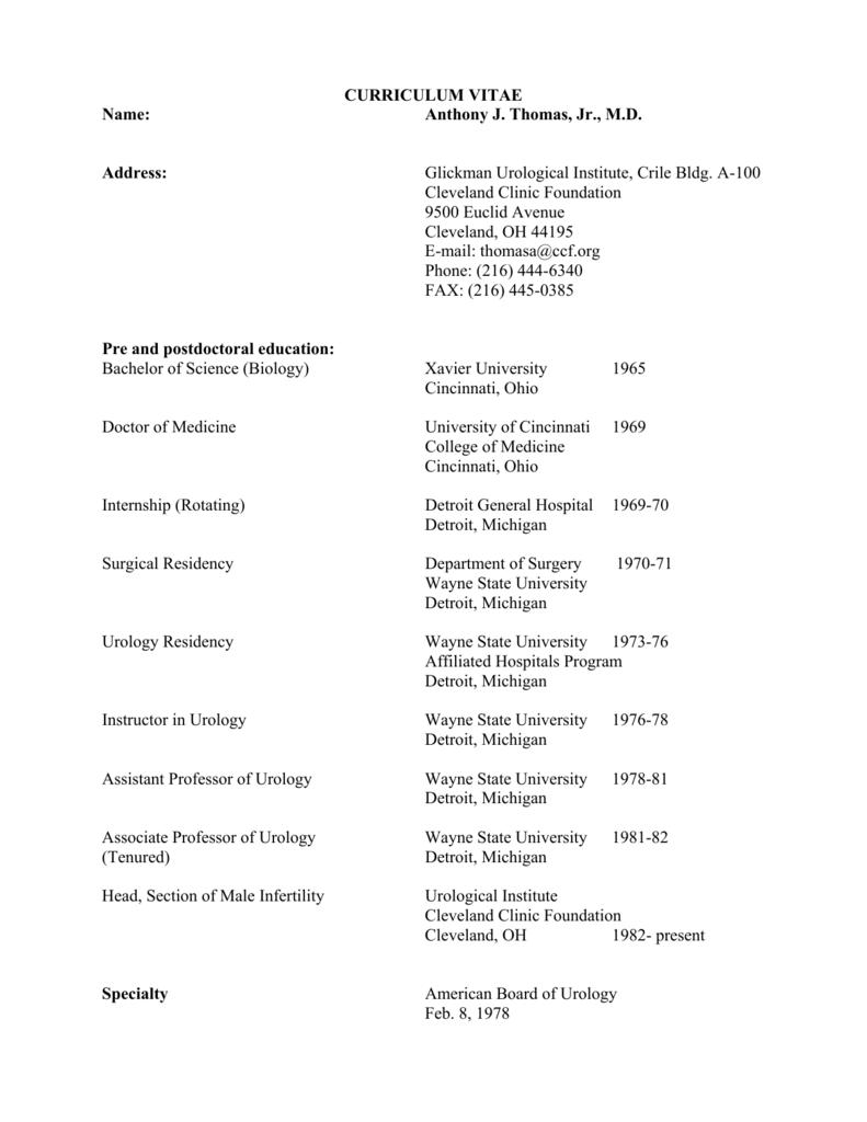 curriculum vitae - Cleveland Clinic