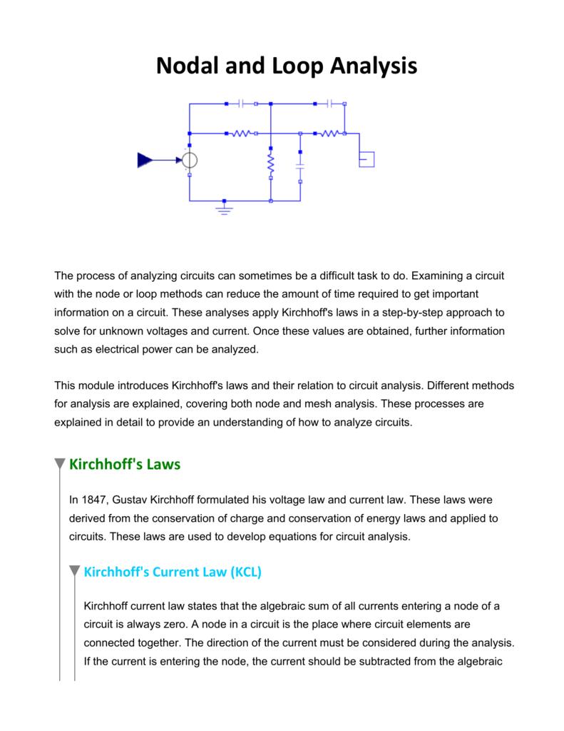 Nodal And Loop Analysis Current Law 008835509 1 1642da32bd860e9a874757e8a966e750