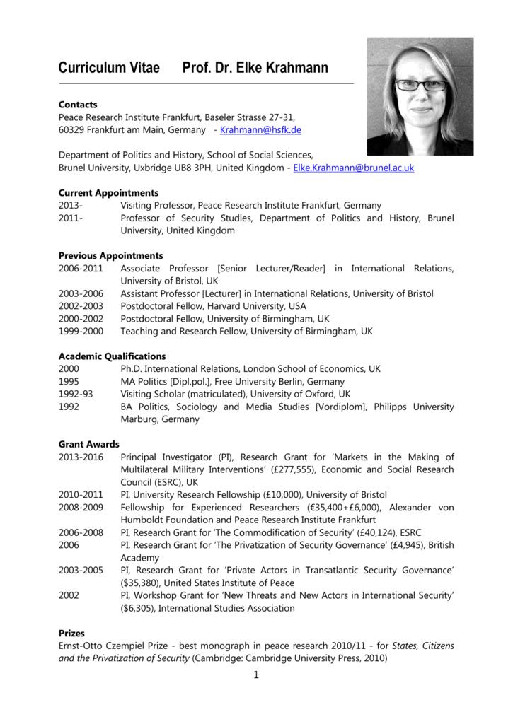 Curriculum Vitae Prof Dr Elke Krahmann