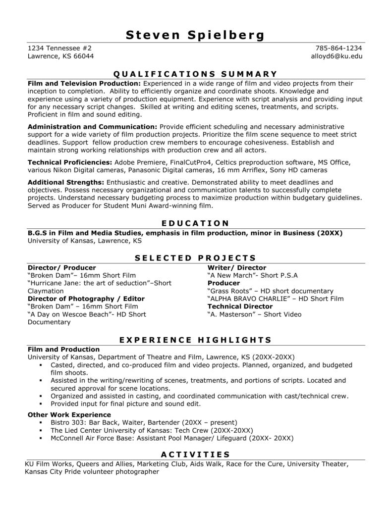Film Resume Sample University Career Center