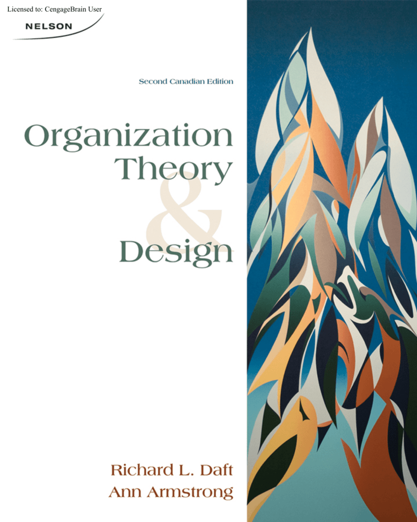 Organization Theory And Design Canadian 2 Ed