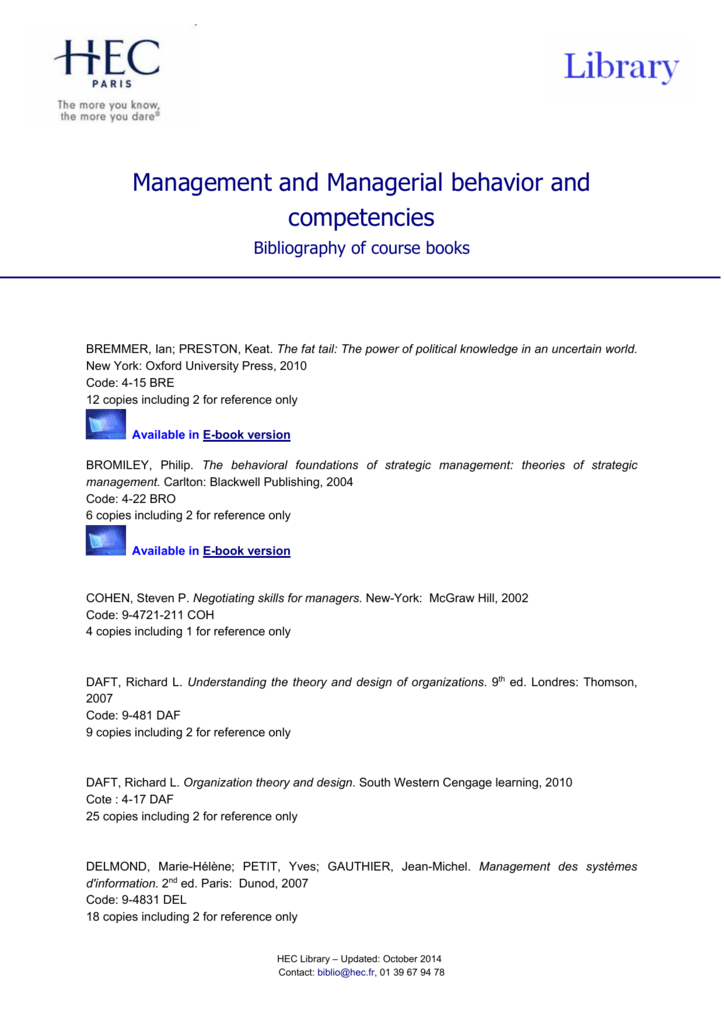 Management And Managerial Behavior And Competencies