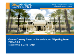 Owens Corning Financial Consolidation Migrating from