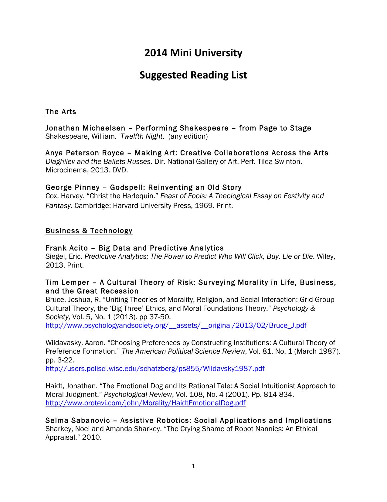 2014 Mini University Suggested Reading List