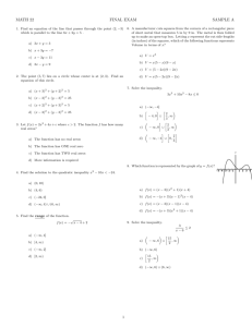 MATH 22 FINAL EXAM SAMPLE A