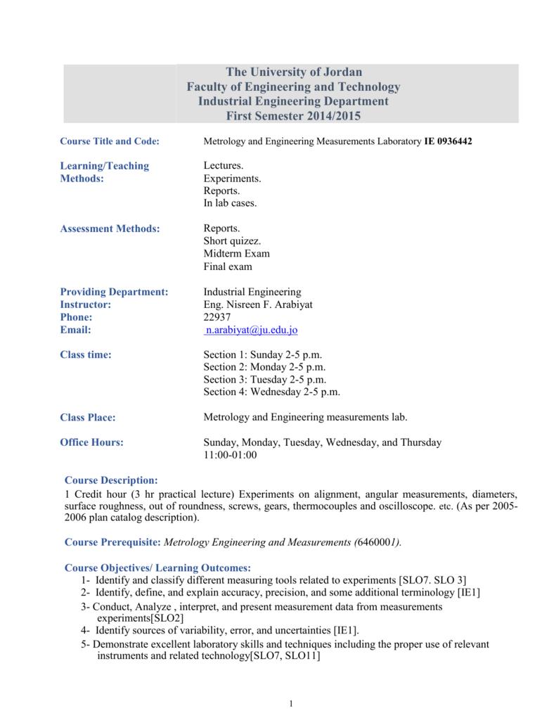 0936442 Metrology and Engineering Measurements Laboratory