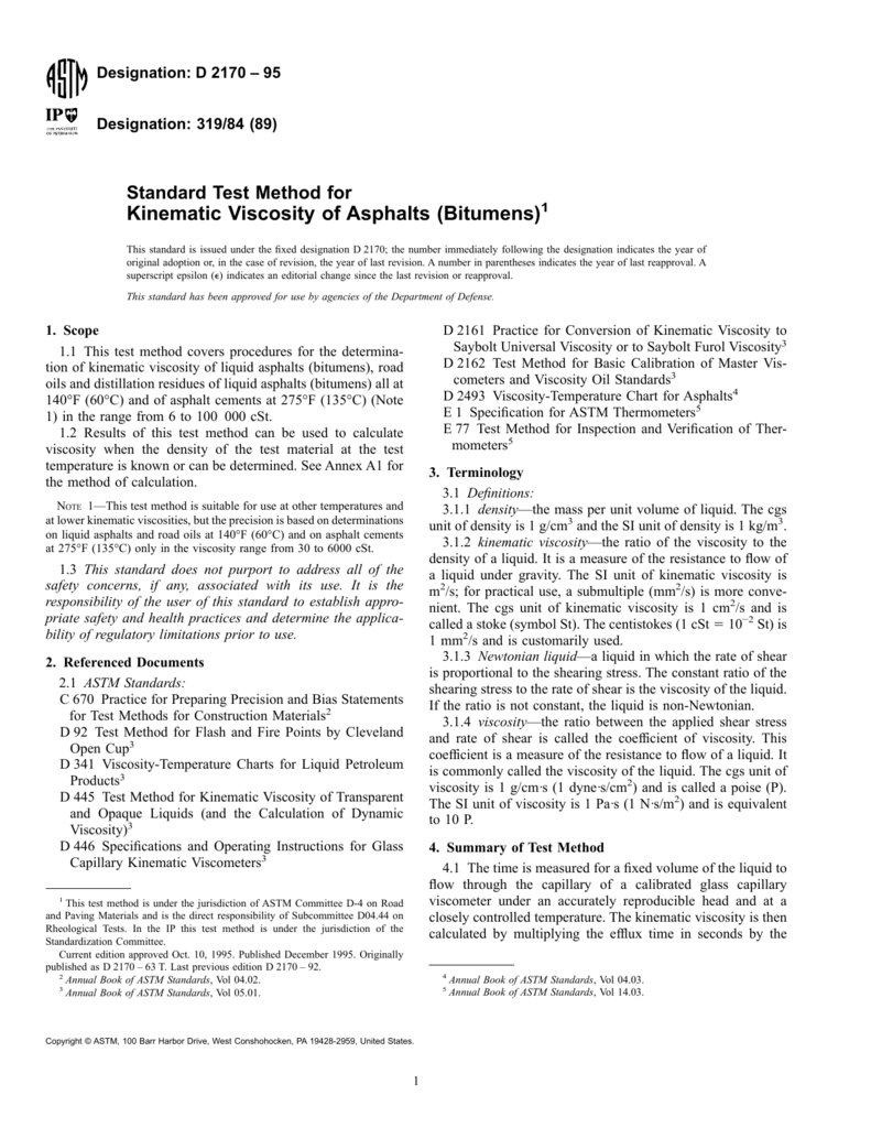 Kinematic Viscosity ASTM D2170