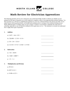 Math Review for Electrician Apprentices