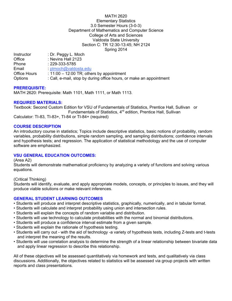 MATH 2620 Elementary Statistics 3 0 Semester Hours (3-0