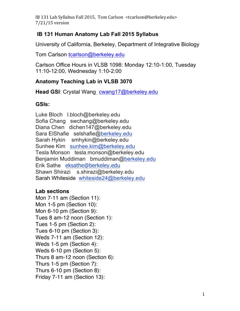 131 LAB Syllabus, 7-21-15 F\'15 - Integrative Biology