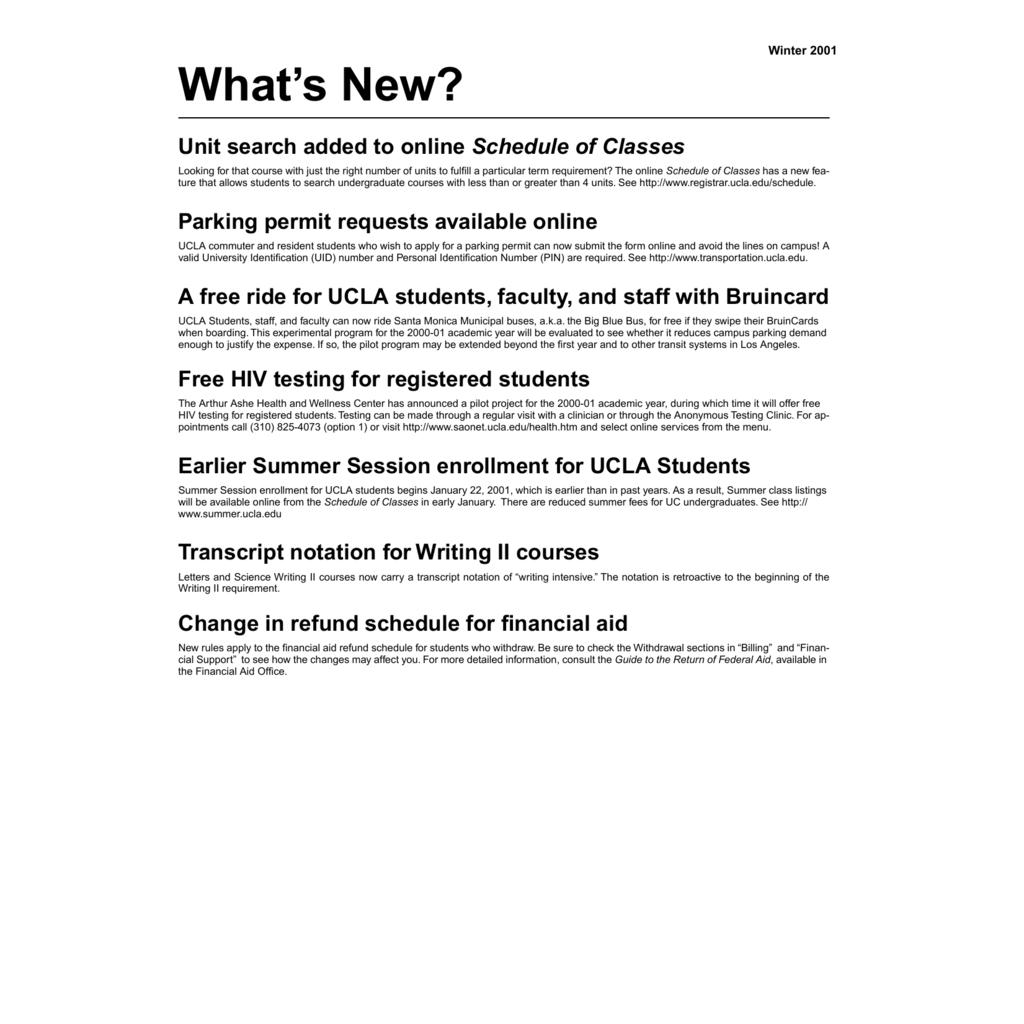 What's New? - UCLA Registrar's