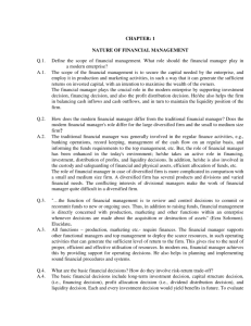 CHAPTER: 1 NATURE OF FINANCIAL MANAGEMENT Q.1. Define