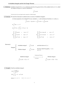 5.4 Indefinite Integrals and the Net Change Theorem 1. Definition