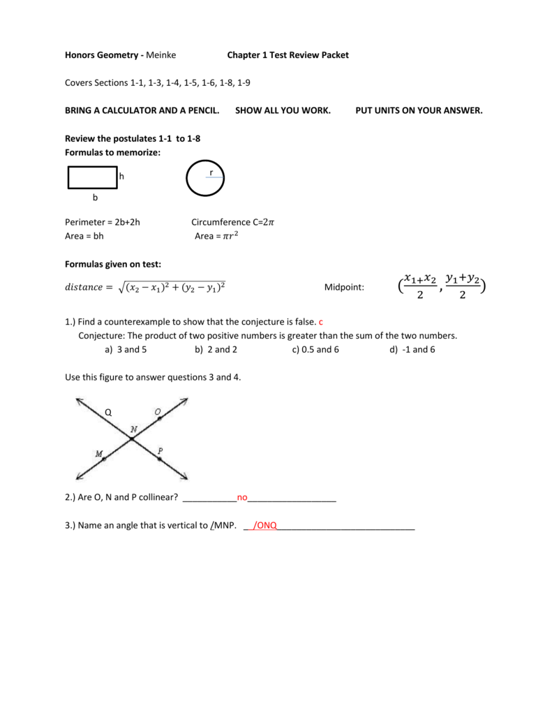 Honors Geometry - Meinke Chapter 1 Test Review Packet Covers