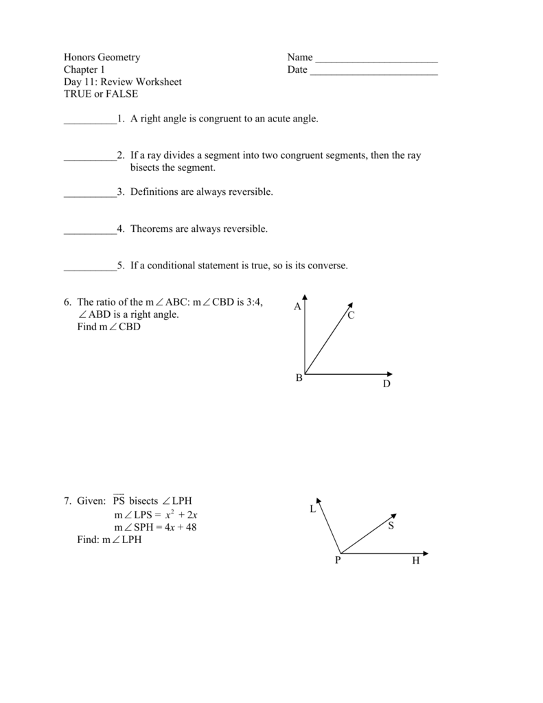 Worksheets Conditional Statements Worksheet honors geometry name chapter 1 date day 11