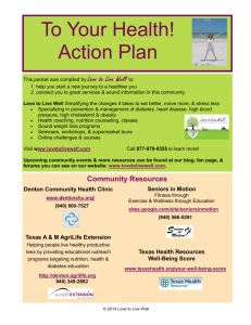 To Your Health! Action Plan