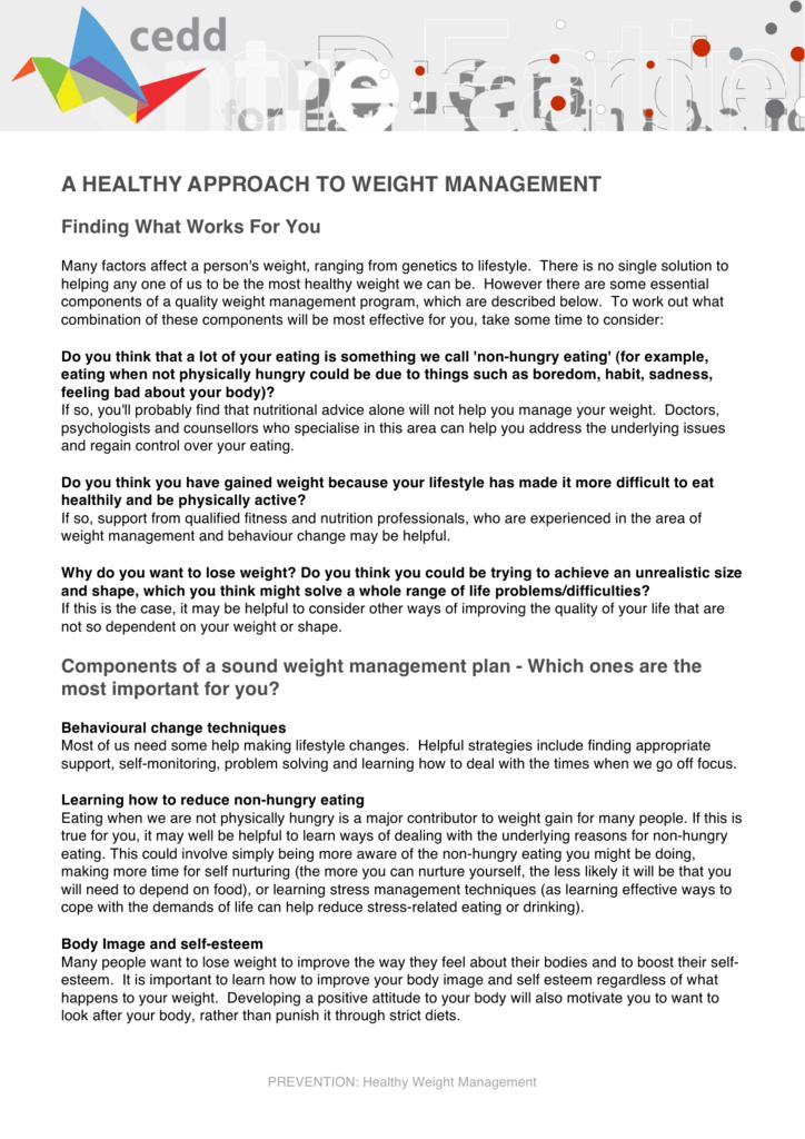 Losing weight management plan
