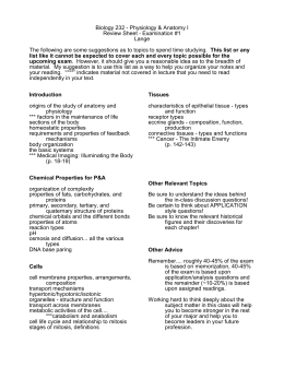 Biology 232 - Physiology & Anatomy I Review Sheet