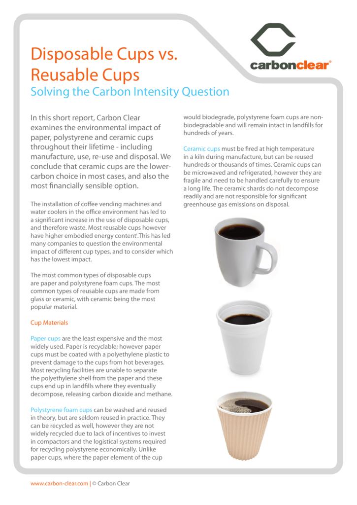 Disposable Cups vs  Reusable Cups