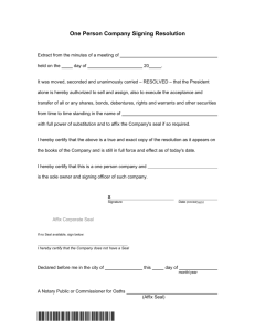 One Person Company Signing Resolution