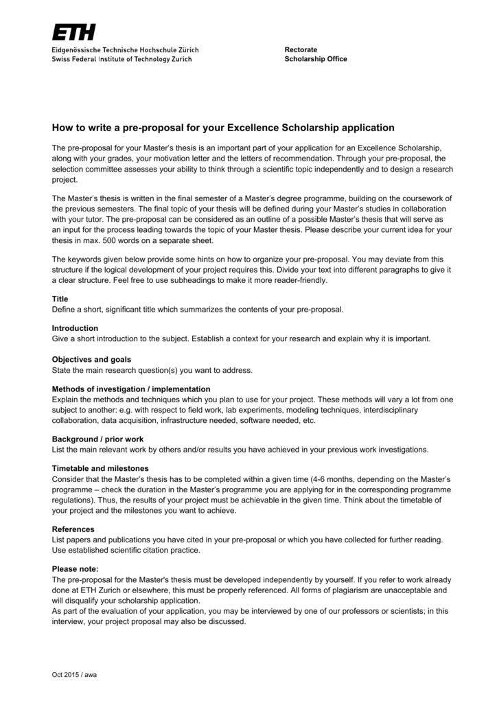 scholarship master thesis proposal
