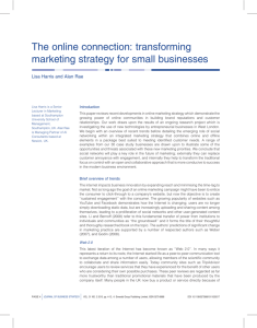 The online connection: transforming marketing strategy for small