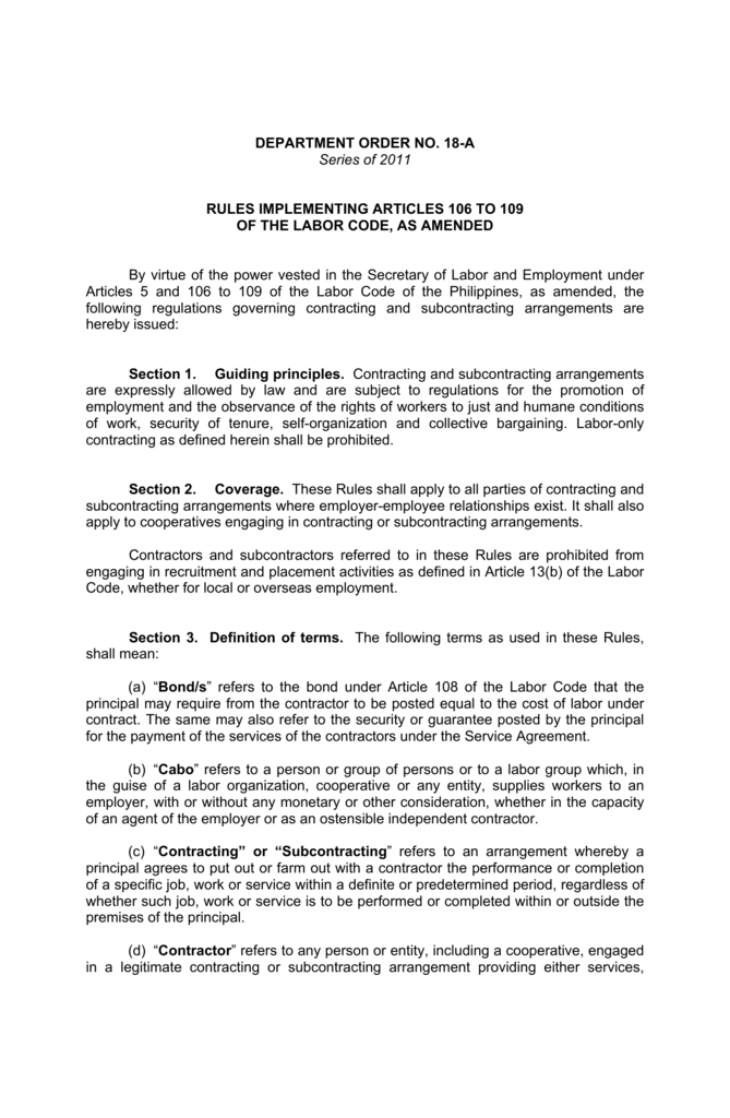 Department Order No 18 A Series Of 2011 Rules