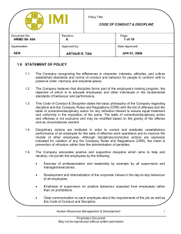 imi code of conduct discipline 10+ years project/program management experience including documented successful completion of cross-discipline projects valued over $7 the imi code of conduct.