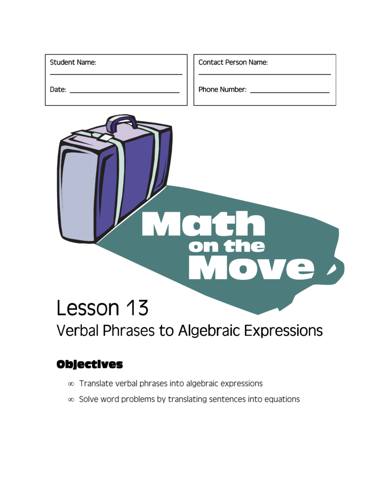 Verbal Phrases to Algebraic Expressions