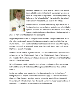 Reverend Elaine Beattie - Manotick United Church