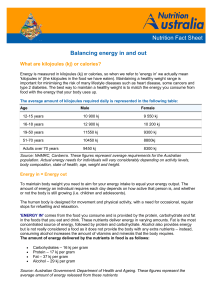 Balancing energy in and out Nutrition Fact Sheet
