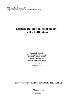 Dispute Resolution Mechanisms in the Philippines