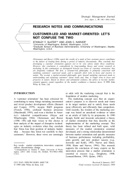 RESEARCH NOTES AND COMMUNICATIONS CUSTOMER