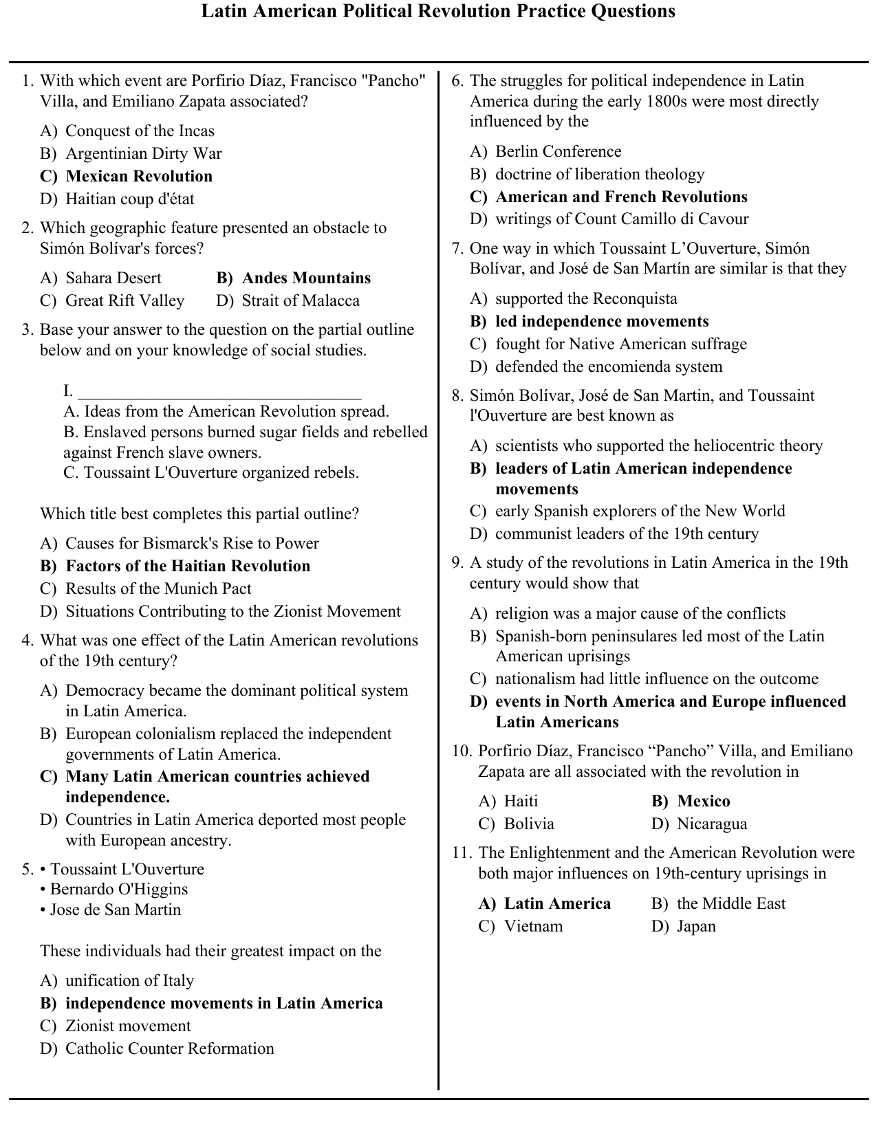 Latin American Political Revolution Practice Questions