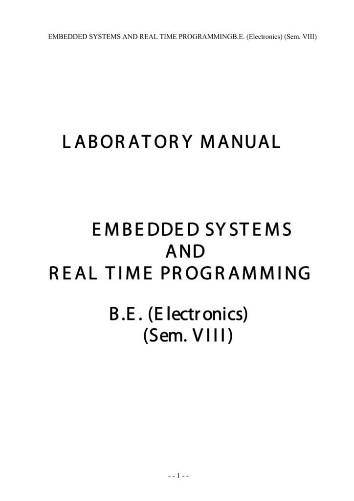 Embedded Systems & Real Time Programming